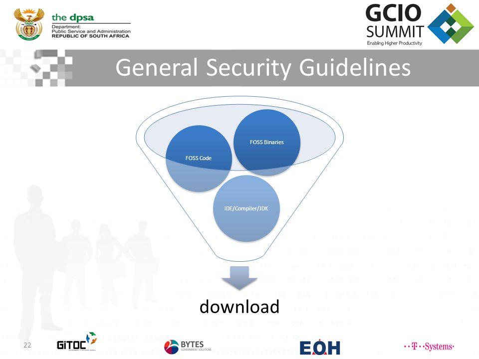 General Security Guidelines 22 download IDE/Compiler/JDKFOSS CodeFOSS Binaries