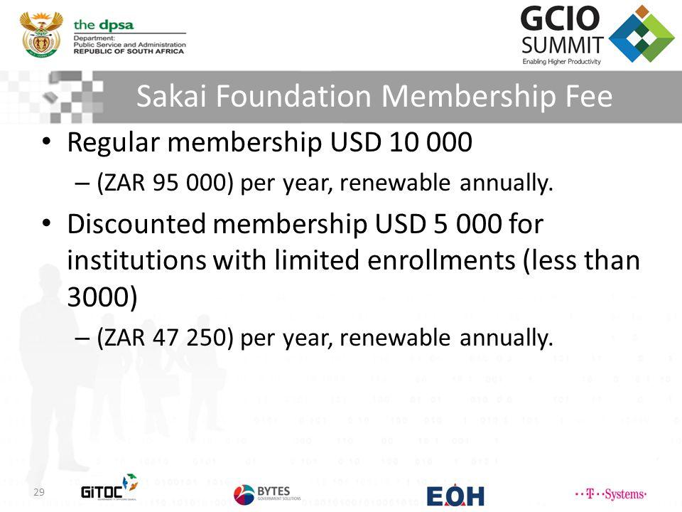 Sakai Foundation Membership Fee 29 Regular membership USD 10 000 – (ZAR 95 000) per year, renewable annually.