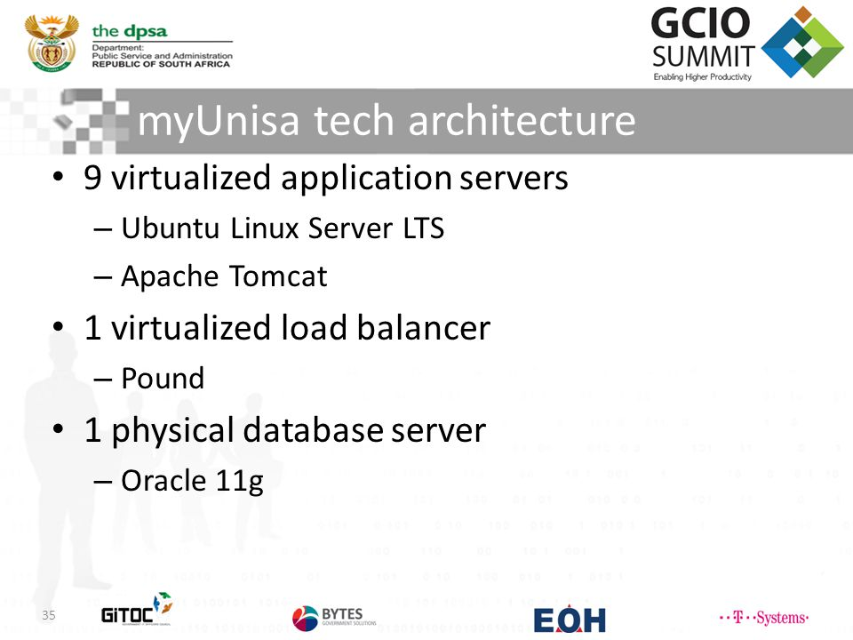 myUnisa tech architecture 35 9 virtualized application servers – Ubuntu Linux Server LTS – Apache Tomcat 1 virtualized load balancer – Pound 1 physical database server – Oracle 11g