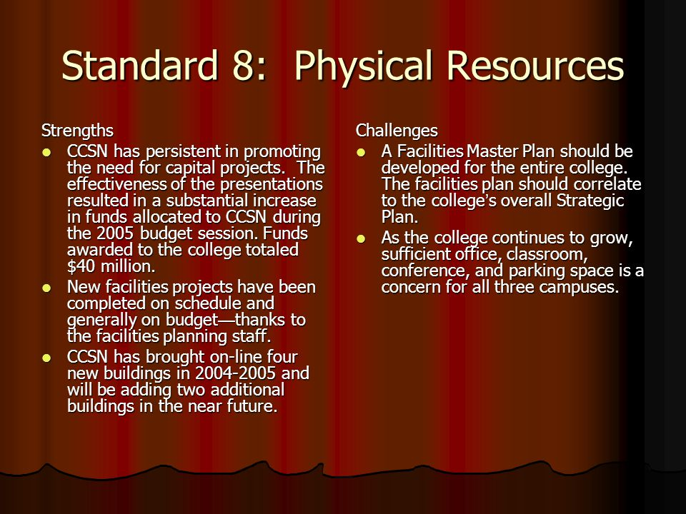 Standard 8: Physical Resources Strengths CCSN has persistent in promoting the need for capital projects.