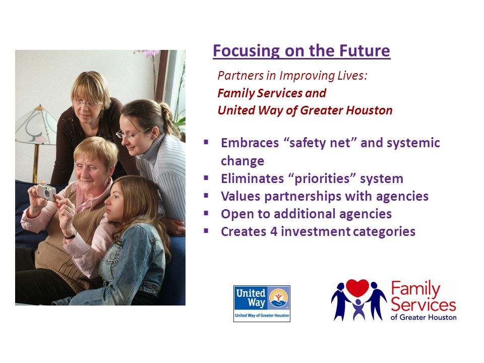 Focusing on the Future Investment Categories: A.Saving lives with basic needs – food, shelter, transportation B.Sustaining individuals with support services – vulnerable populations C.Transforming lives – seniors, counseling, drug/alcohol, housing Counseling Ensueños School-based Services D.Changing our Community – UW Thrive, Education Initiative THRIVE Parent Resources Case Management