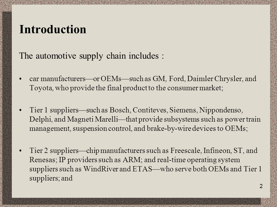 2 Introduction The automotive supply chain includes : car manufacturers—or OEMs—such as GM, Ford, Daimler Chrysler, and Toyota, who provide the final product to the consumer market; Tier 1 suppliers—such as Bosch, Contiteves, Siemens, Nippondenso, Delphi, and Magneti Marelli—that provide subsystems such as power train management, suspension control, and brake-by-wire devices to OEMs; Tier 2 suppliers—chip manufacturers such as Freescale, Infineon, ST, and Renesas; IP providers such as ARM; and real-time operating system suppliers such as WindRiver and ETAS—who serve both OEMs and Tier 1 suppliers; and