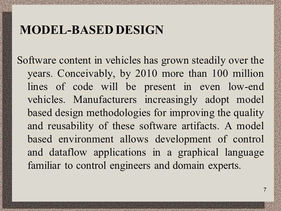 7 MODEL-BASED DESIGN Software content in vehicles has grown steadily over the years.