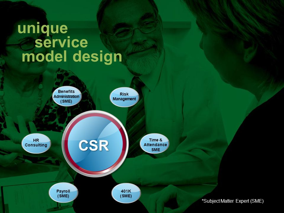 unique service model design CSR HR Consulting Risk Management Time & Attendance SME Payroll (SME) Benefits Administration (SME) 401K (SME) CSR *Subject Matter Expert (SME)