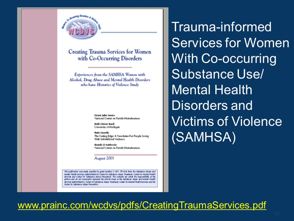 15 www.prainc.com/wcdvs/pdfs/CreatingTraumaServices.pdf Trauma-informed Services for Women With Co-occurring Substance Use/ Mental Health Disorders and Victims of Violence (SAMHSA)