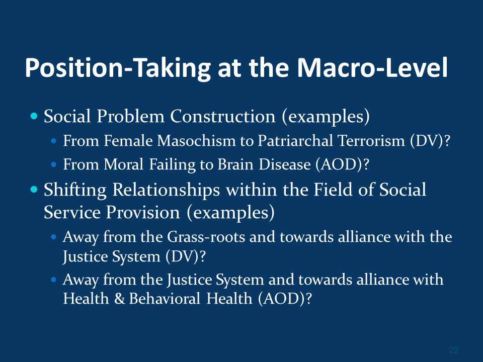 22 Position-Taking at the Macro-Level Social Problem Construction (examples) From Female Masochism to Patriarchal Terrorism (DV).