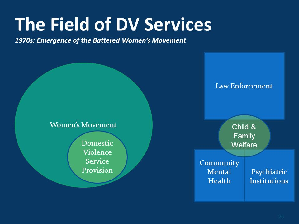 25 The Field of DV Services 1970s: Emergence of the Battered Women's Movement Women's Movement Law Enforcement Community Mental Health Psychiatric Institutions Child & Family Welfare Domestic Violence Service Provision