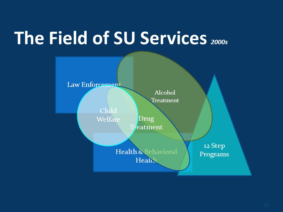 34 The Field of SU Services 2000s Law Enforcement 12 Step Programs Alcohol Treatment Health & Behavioral Health Drug Treatment Child Welfare