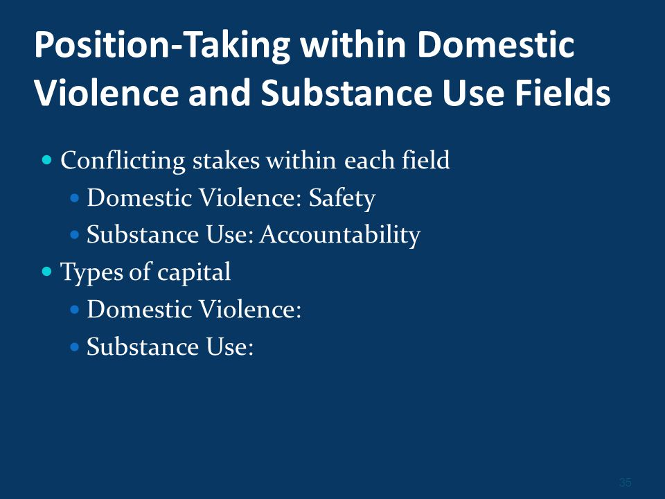 35 Position-Taking within Domestic Violence and Substance Use Fields Conflicting stakes within each field Domestic Violence: Safety Substance Use: Accountability Types of capital Domestic Violence: Substance Use: