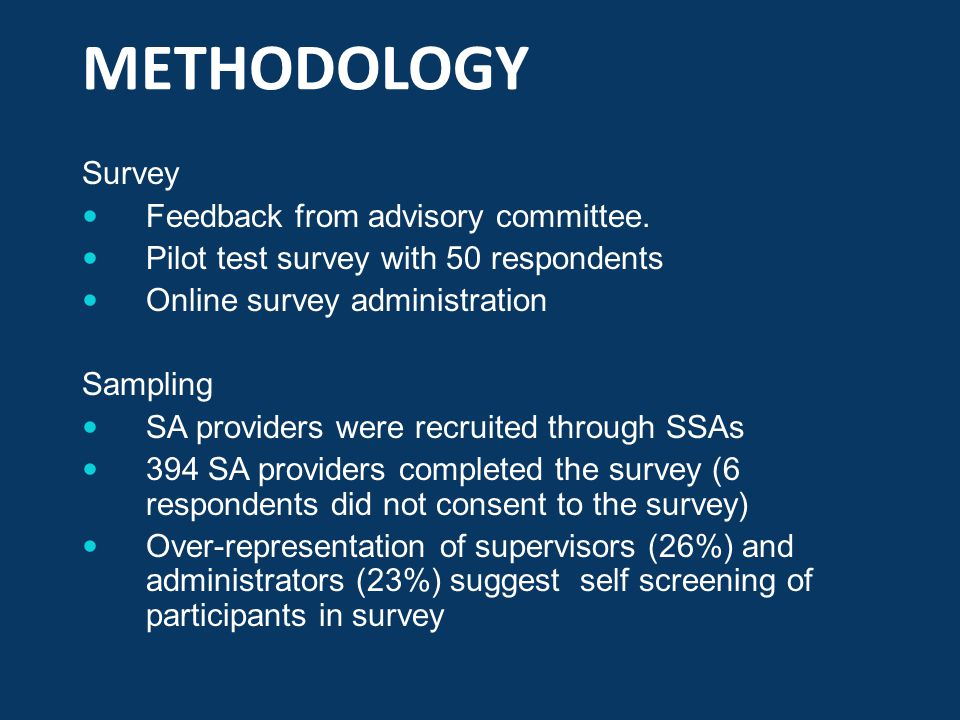 METHODOLOGY Survey Feedback from advisory committee.