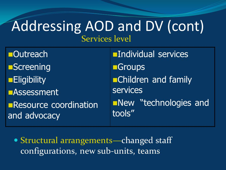 Addressing AOD and DV (cont) Services level Structural arrangements—changed staff configurations, new sub-units, teams Outreach Screening Eligibility Assessment Resource coordination and advocacy Individual services Groups Children and family services New technologies and tools