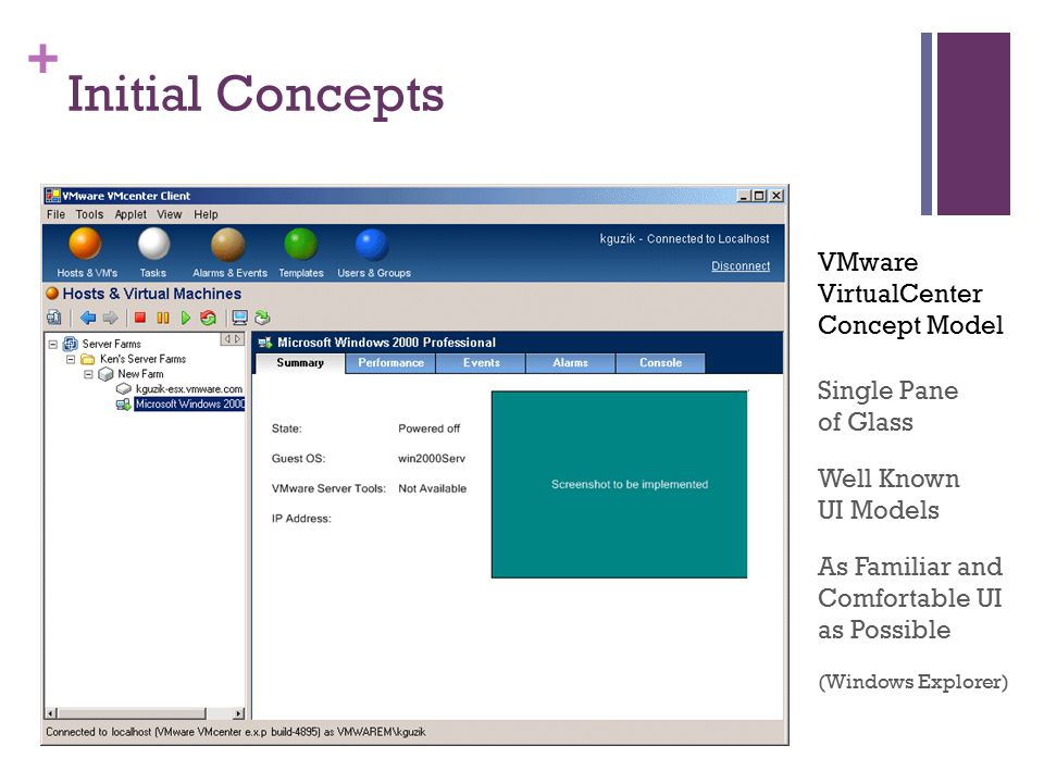 + Initial Concepts Single Pane of Glass As Familiar and Comfortable UI as Possible (Windows Explorer) Well Known UI Models VMware VirtualCenter Concept Model