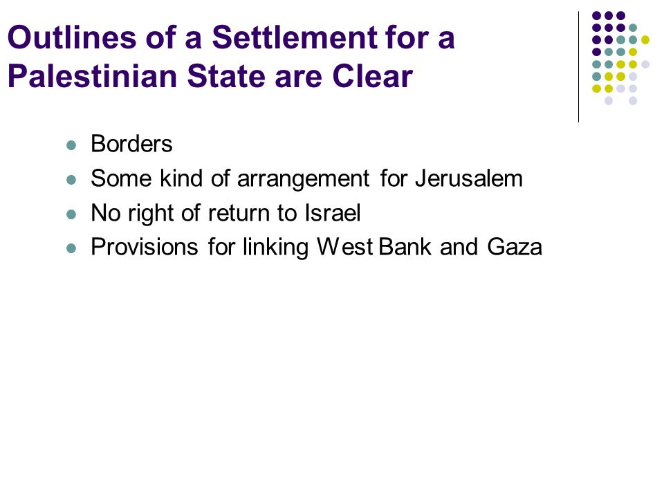 Outlines of a Settlement for a Palestinian State are Clear Borders Some kind of arrangement for Jerusalem No right of return to Israel Provisions for