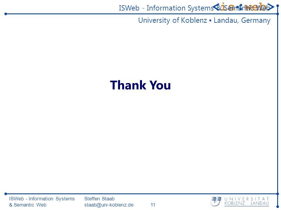ISWeb - Information Systems & Semantic Web Steffen Staab staab@uni-koblenz.de11 Thank You ISWeb - Information Systems & Semantic Web University of Koblenz ▪ Landau, Germany