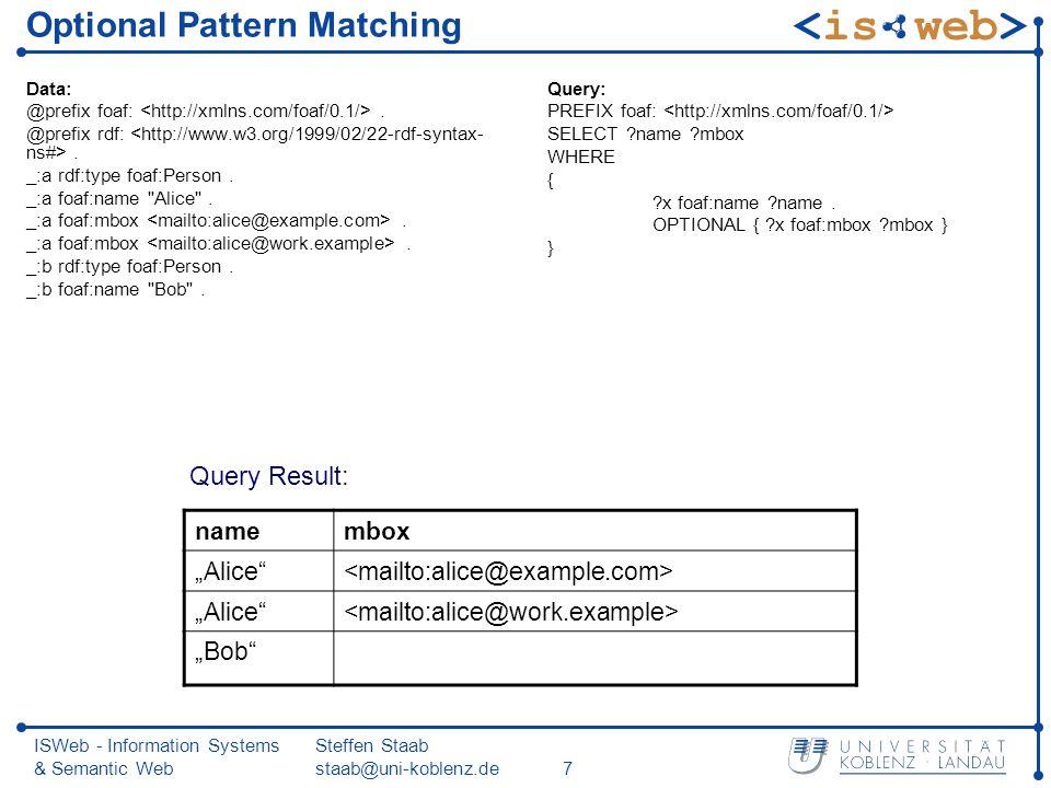 ISWeb - Information Systems & Semantic Web Steffen Staab staab@uni-koblenz.de7 Optional Pattern Matching Data: @prefix foaf:.