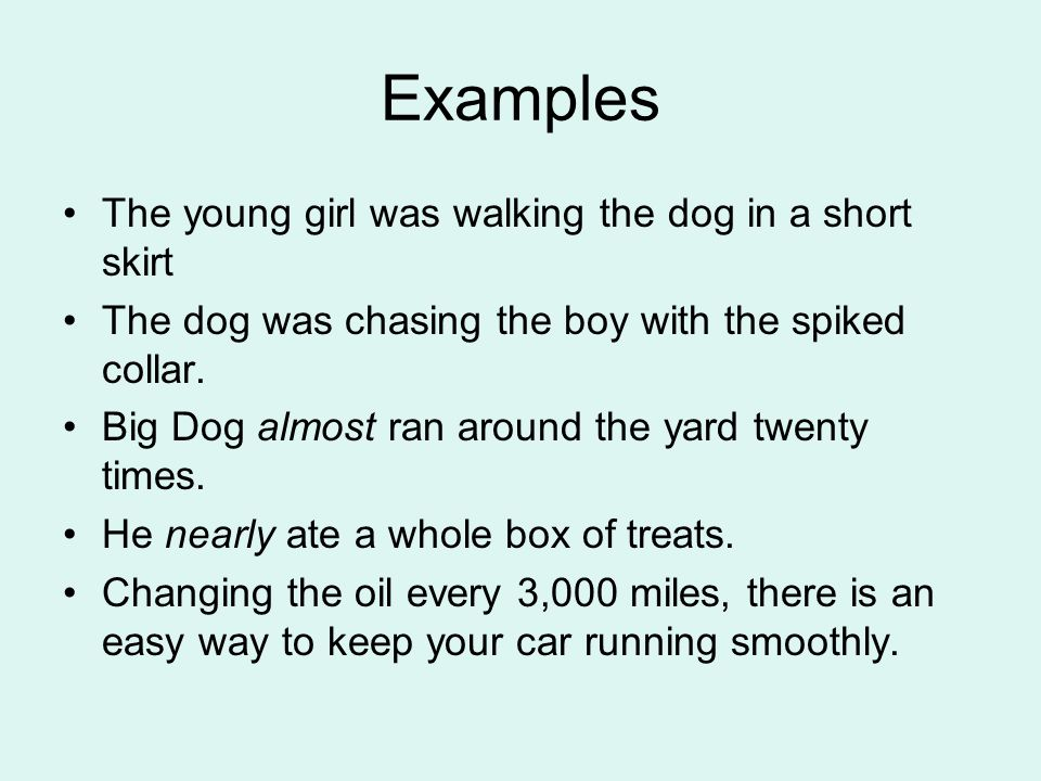 Examples The young girl was walking the dog in a short skirt The dog was chasing the boy with the spiked collar.