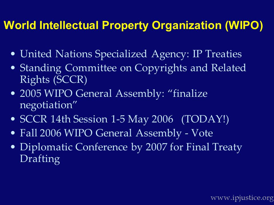 Stifles Innovation and Competition www.ipjustice.org Intel opposes the WIPO Broadcasting Treaty.