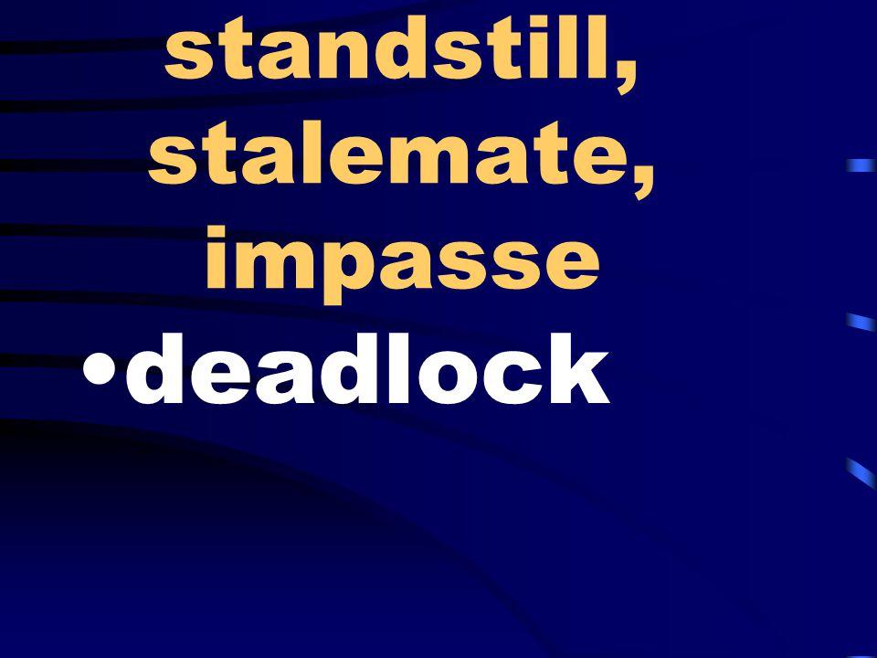 standstill, stalemate, impasse deadlock