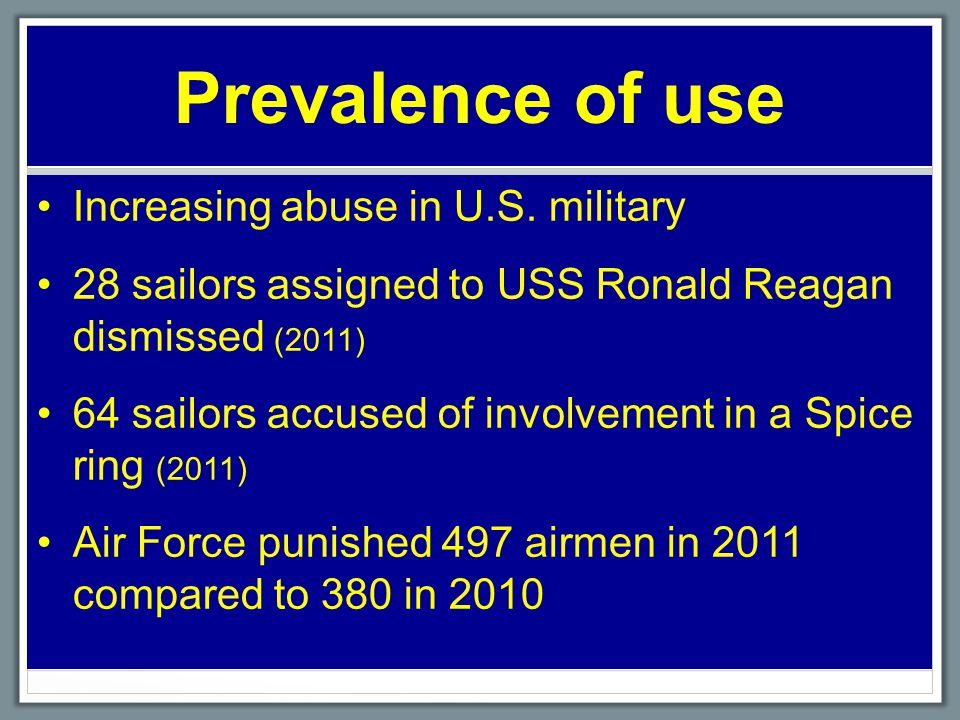 Prevalence of use Increasing abuse in U.S.