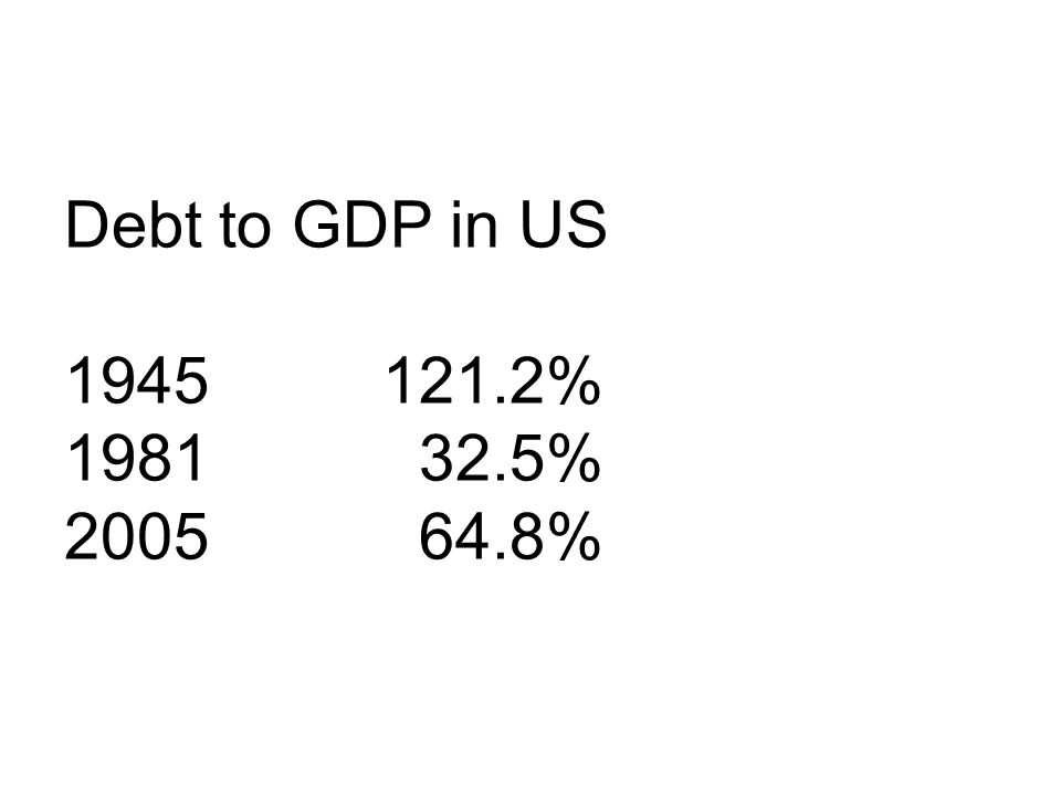 Debt to GDP in US 1945 121.2% 1981 32.5% 2005 64.8%