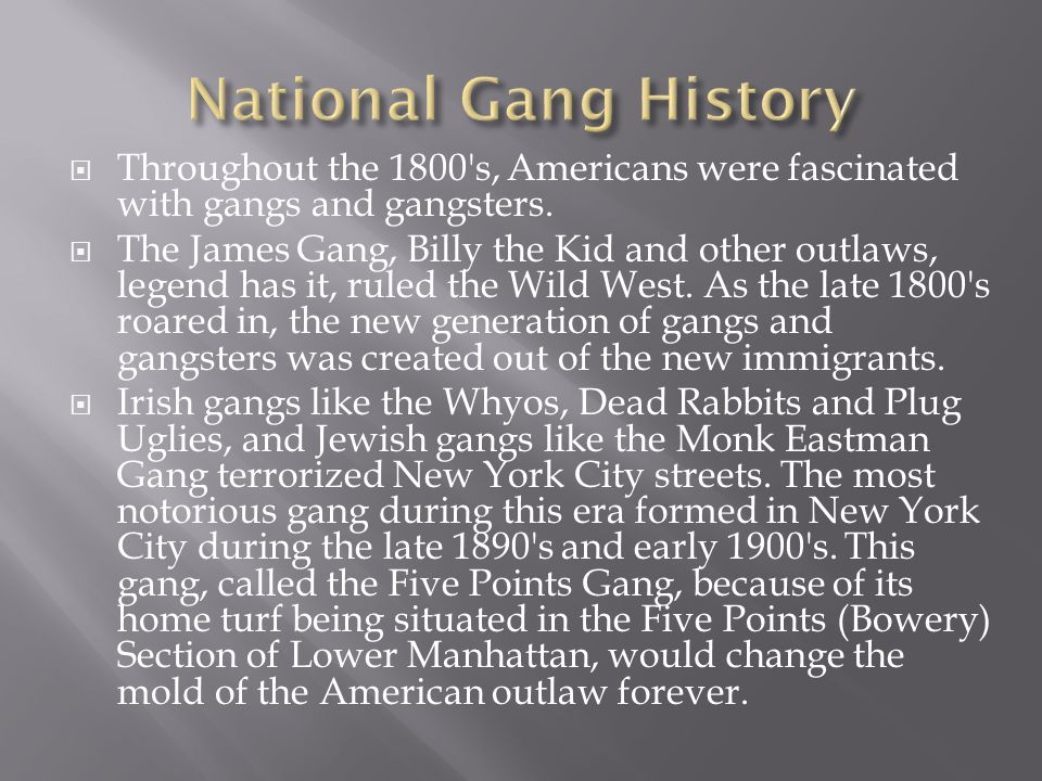  Throughout the 1800 s, Americans were fascinated with gangs and gangsters.