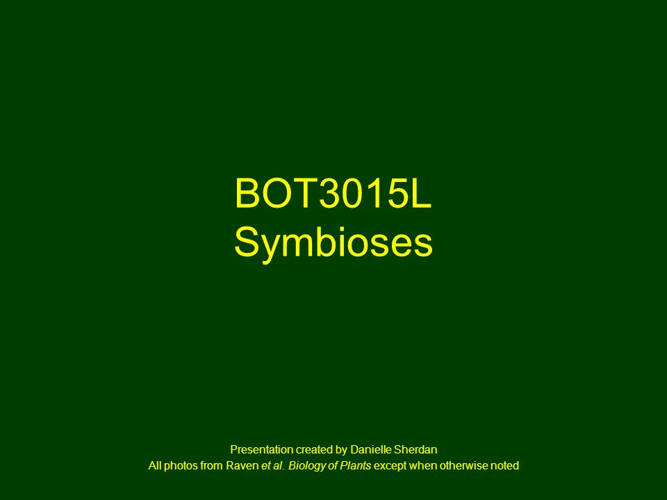 BOT3015L Symbioses Presentation created by Danielle Sherdan All photos from Raven et al.