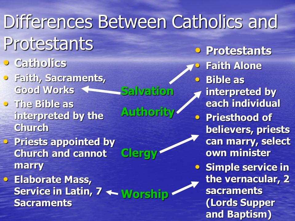 Differences Between Catholics and Protestants Catholics Catholics Faith, Sacraments, Good Works Faith, Sacraments, Good Works The Bible as interpreted