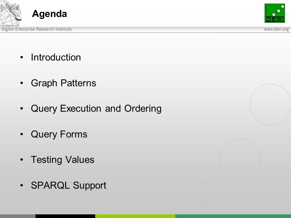 Agenda Introduction Graph Patterns Query Execution and Ordering Query Forms Testing Values SPARQL Support