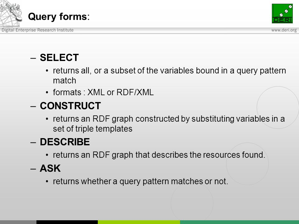 Query forms: –SELECT returns all, or a subset of the variables bound in a query pattern match formats : XML or RDF/XML –CONSTRUCT returns an RDF graph