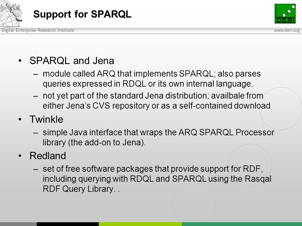 Support for SPARQL SPARQL and Jena –module called ARQ that implements SPARQL; also parses queries expressed in RDQL or its own internal language. –not