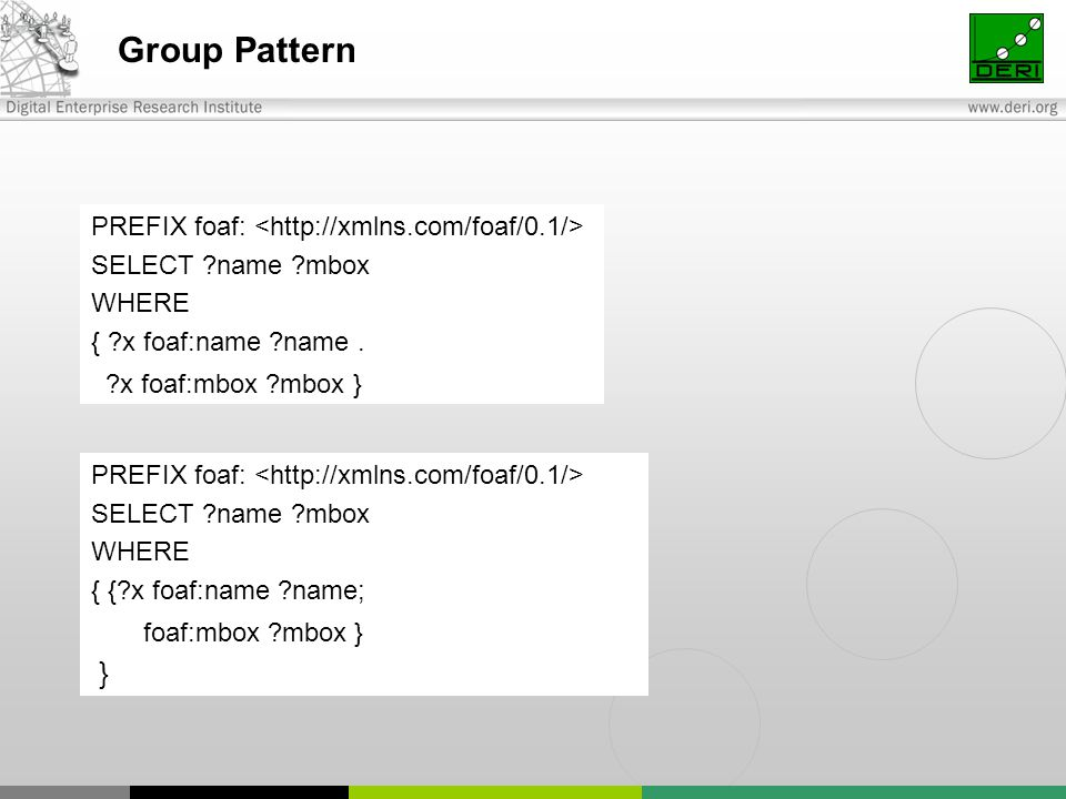 Group Pattern PREFIX foaf: SELECT name mbox WHERE { x foaf:name name.