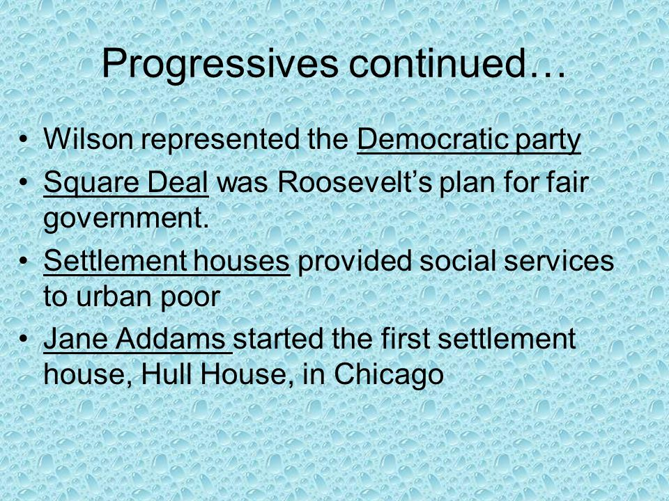 Progressives cont The 18 th and 21 st amendments are related as one started prohibition the other repealed it Alice Paul broke with NAWSA and formed the National Woman's Party  to picketing the White House and hunger strikes