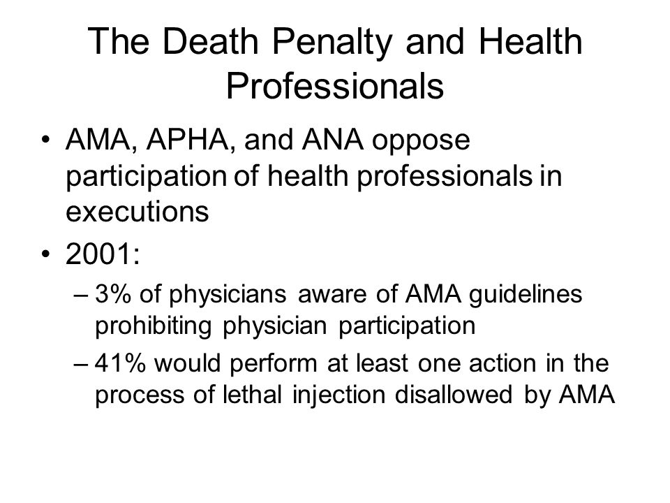 The Death Penalty and Health Professionals AMA, APHA, and ANA oppose participation of health professionals in executions 2001: –3% of physicians aware of AMA guidelines prohibiting physician participation –41% would perform at least one action in the process of lethal injection disallowed by AMA