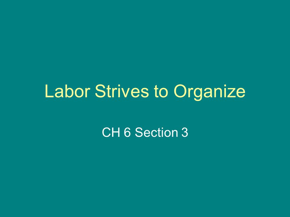 Labor Strives to Organize CH 6 Section 3