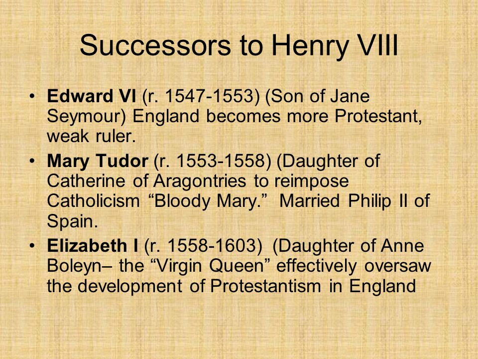 Successors to Henry VIII Edward VI (r.