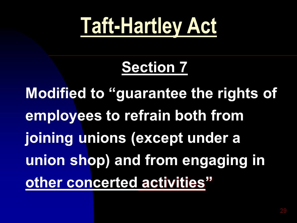 "29 Taft-Hartley Act Section 7 activities"" Modified to ""guarantee the rights of employees to refrain both from joining unions (except under a union sho"