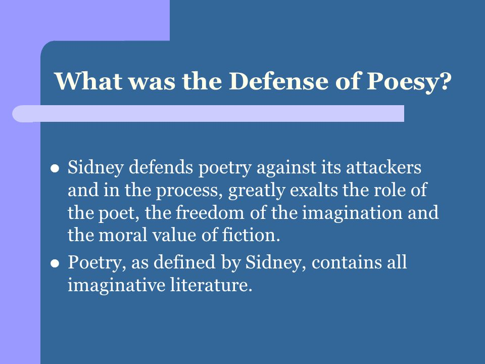 What was the Defense of Poesy.