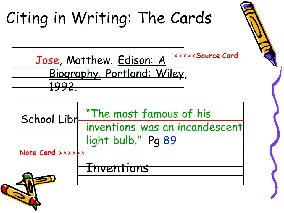 """Citing in Writing: The Cards Jose, Matthew. Edison: A Biography. Portland: Wiley, 1992. School Library """"The most famous of his inventions was an incan"""