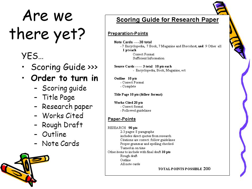 Are we there yet? YES… Scoring Guide >>> Order to turn in –Scoring guide –Title Page –Research paper –Works Cited –Rough Draft –Outline –Note Cards