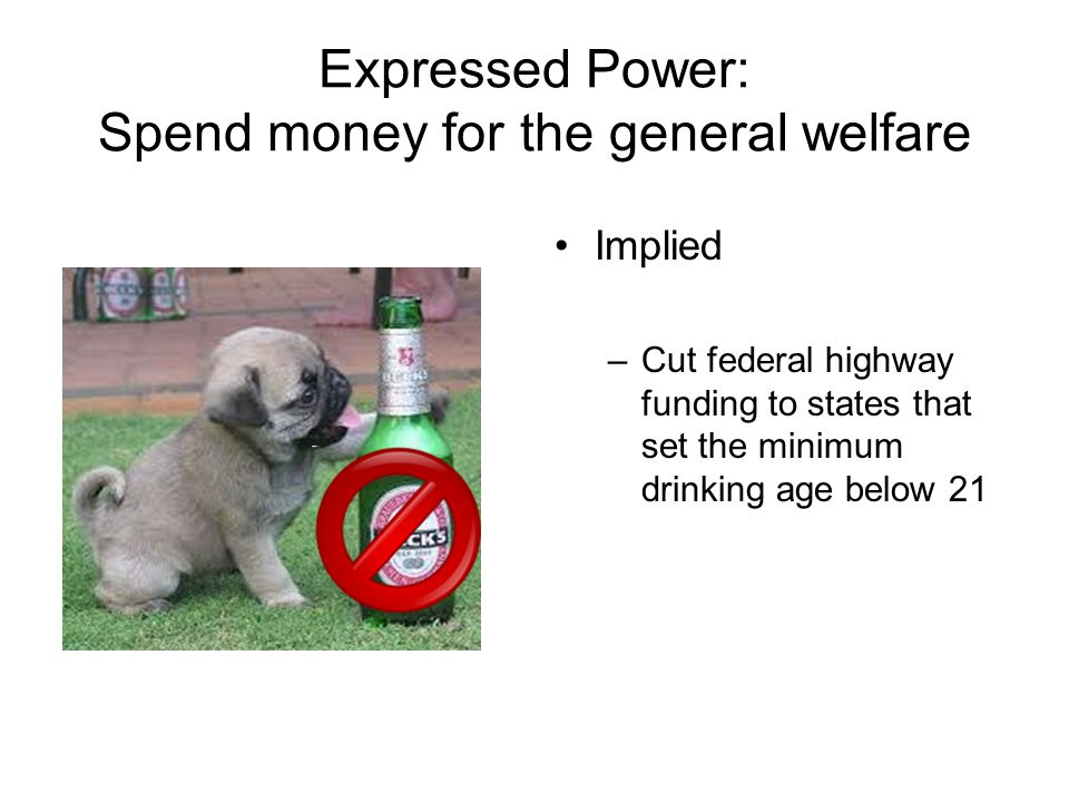 Expressed Power: Spend money for the general welfare Implied –Cut federal highway funding to states that set the minimum drinking age below 21