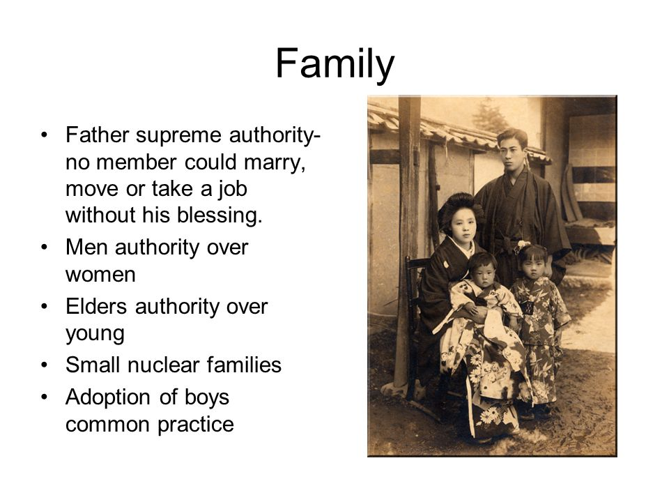 Family Father supreme authority- no member could marry, move or take a job without his blessing.