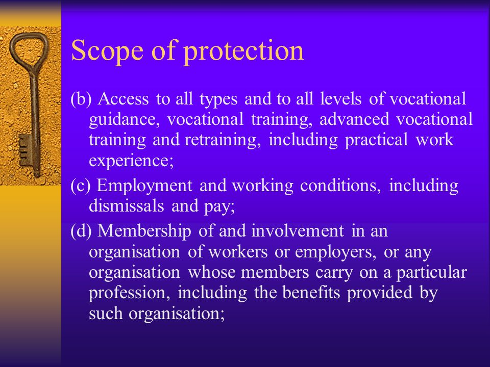Scope of protection (b) Access to all types and to all levels of vocational guidance, vocational training, advanced vocational training and retraining, including practical work experience; (c) Employment and working conditions, including dismissals and pay; (d) Membership of and involvement in an organisation of workers or employers, or any organisation whose members carry on a particular profession, including the benefits provided by such organisation;