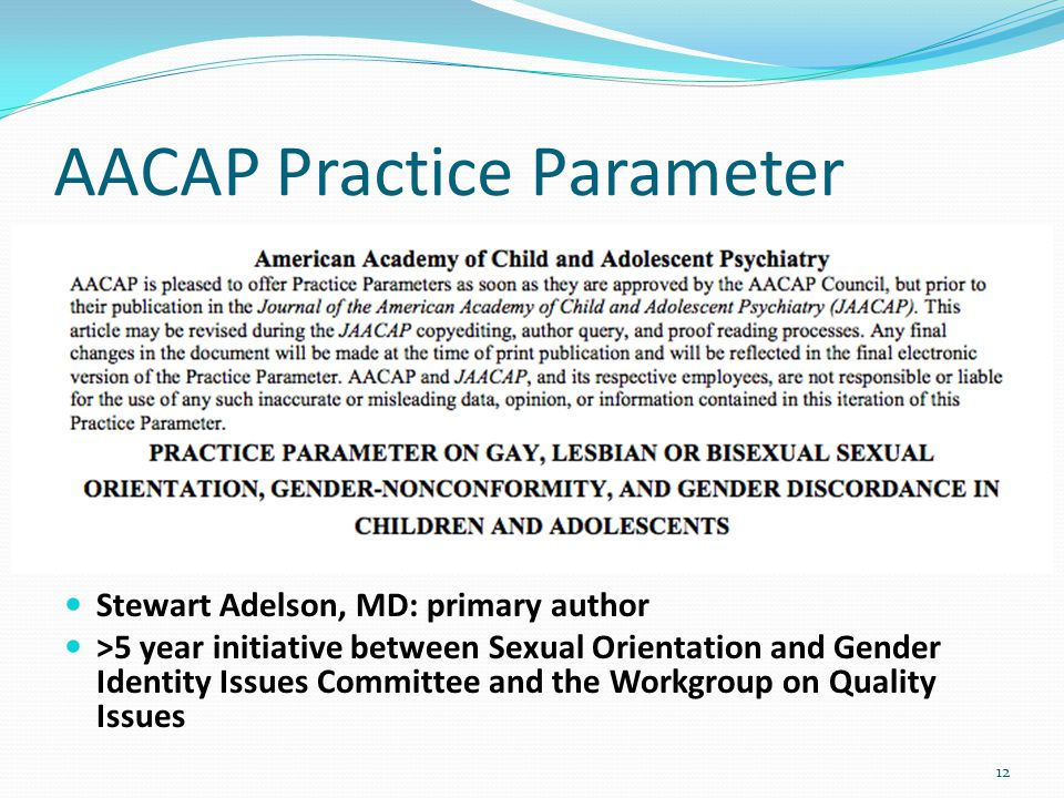AACAP Practice Parameter 12 Stewart Adelson, MD: primary author >5 year initiative between Sexual Orientation and Gender Identity Issues Committee and the Workgroup on Quality Issues