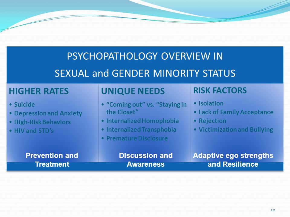 20 PSYCHOPATHOLOGY OVERVIEW IN SEXUAL and GENDER MINORITY STATUS HIGHER RATES Suicide Depression and Anxiety High-Risk Behaviors HIV and STD's UNIQUE NEEDS Coming out vs.