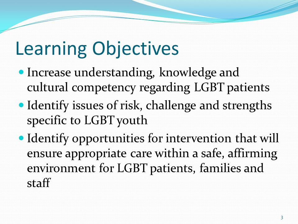Learning Objectives Increase understanding, knowledge and cultural competency regarding LGBT patients Identify issues of risk, challenge and strengths specific to LGBT youth Identify opportunities for intervention that will ensure appropriate care within a safe, affirming environment for LGBT patients, families and staff 3