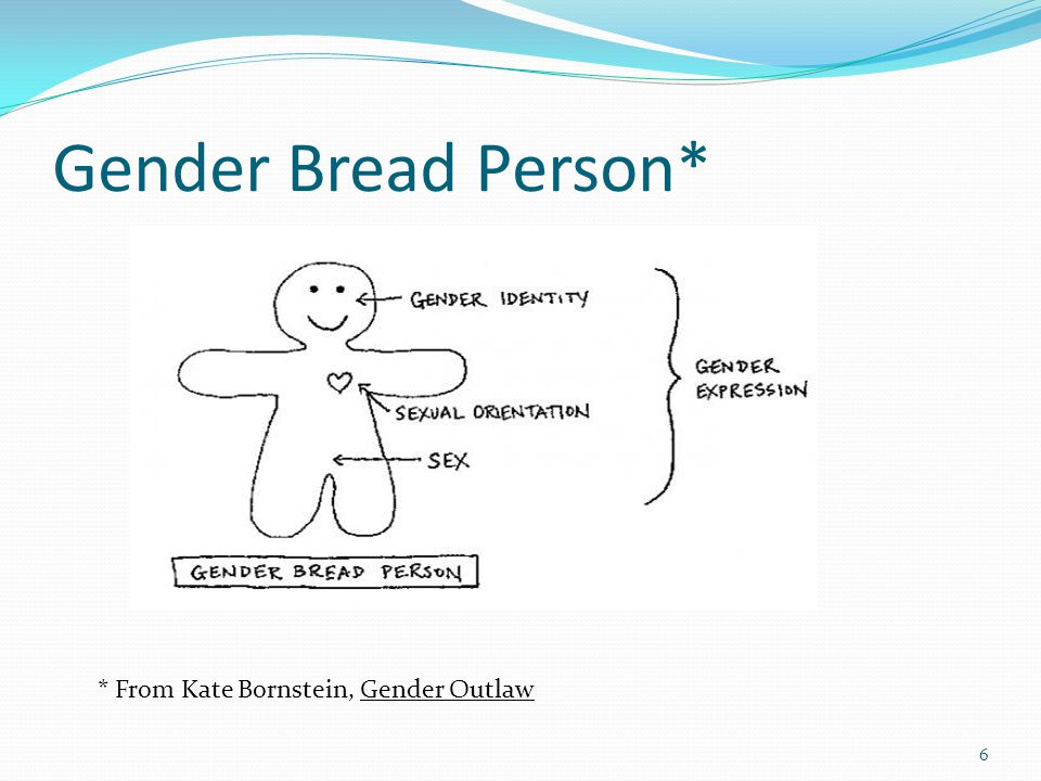 Gender Bread Person* * From Kate Bornstein, Gender Outlaw 6