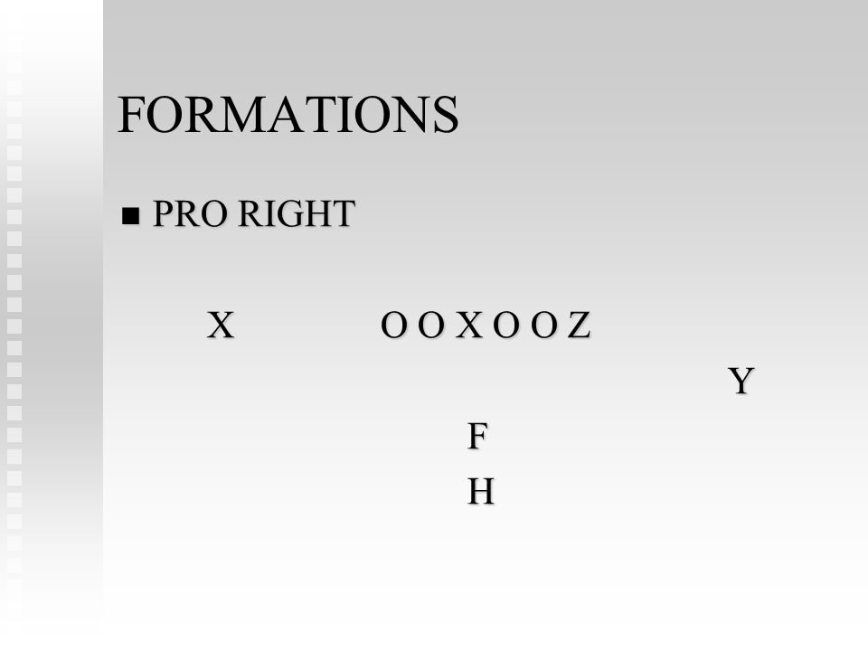 FORMATIONS PRO RIGHT PRO RIGHT XO O X O O Z YFH