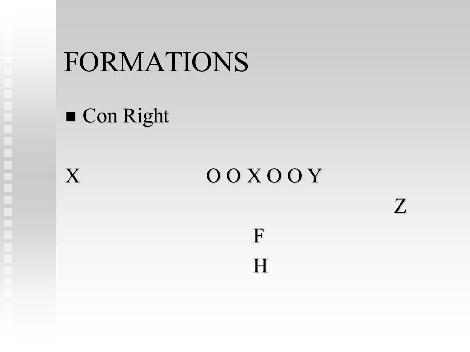 FORMATIONS Con Right Con Right XO O X O O Y ZFH