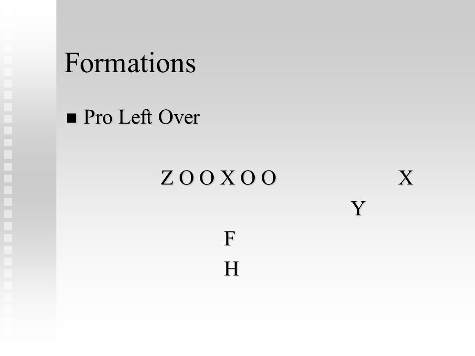 Formations Pro Left Over Pro Left Over Z O O X O OX Y F H