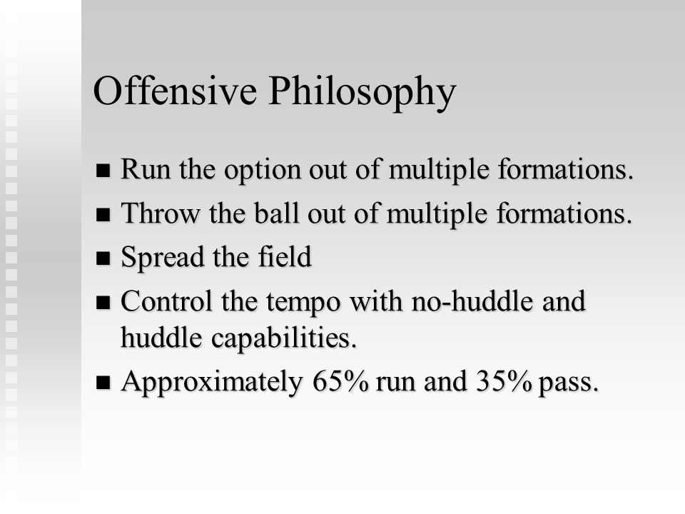 Offensive Philosophy Run the option out of multiple formations.